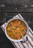 Slovak national christmas cabbage soup with mushrooms on natural background. stock images