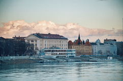Slovak national museum. Danube river in Bratislava, capital city of Slovakia royalty free stock image