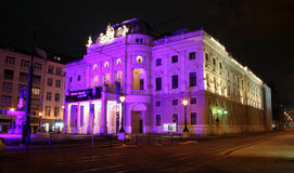 Slovak national theatre - Bratislava. Night view royalty free stock images