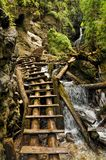 Slovak Paradise National Park. Close-up view of a trail made of wooden ladders with a waterfall nearby, Slovak Paradise National Park royalty free stock images