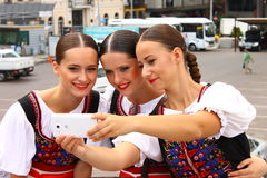 Slovak past and present. Slovak girls in slovak folklore costumes Stock Images