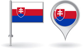 Slovak pin icon and map pointer flag. Vector Stock Photos
