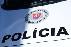 Slovak Police. Photo with Slovak police car stock photos