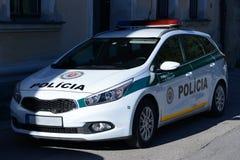 Slovak Police. Photo with Slovak police car royalty free stock image