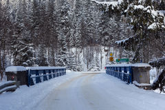 Slovak-polish border bridge on the Lysa Polana in snowy forest in the High Tatras mountains. Royalty Free Stock Photography