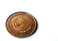 Slovak Presidency of the Council of the EU coin. Slovak Presidency of the Council of the EU two euro coin isolated on white background royalty free stock images