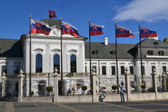 Slovak presidential palace and flags Royalty Free Stock Photography