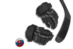 Slovak puck, gloves and hockey stick Royalty Free Stock Photography