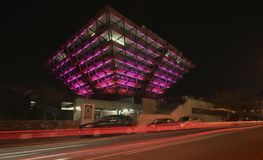 Slovak Radio Building at night. The Slovak Radio Building is located in Bratislava. It is shaped like an upside down pyramid. Architects of this project were royalty free stock photo
