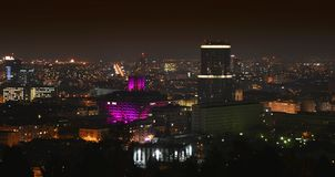 Slovak Radio Building at night. stock photography