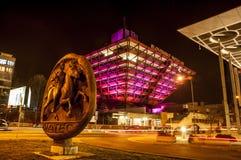 Slovak Radio Building at night. stock photo
