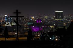 Slovak Radio Building at night. royalty free stock photography
