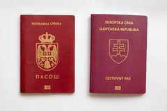 Slovak and Serbian passport on white paper background. Slovak and Serbian passport on white background royalty free stock image