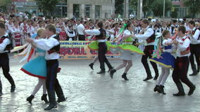 Slovak traditional dance at the International Folklore Festival stock footage