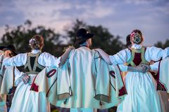 Slovak traditional folkloric costumes and dancers royalty free stock photo