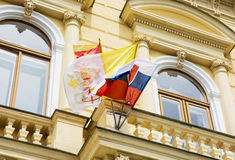Slovak and Vatican flags on the building of the Great Seminary i Stock Images