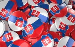 Slovakia Badges Background - Pile of Slovakian Flag Buttons. 3D Rendering Stock Photos