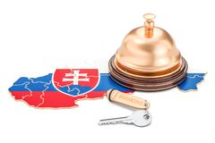 Slovakia booking concept. Flag with hotel key and reception bell. 3D stock illustration