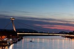 New Bridge in Bratislava at Dusk. Slovakia, Bratislava, Most SNP - New Bridge or UFO Bridge on Danube River at twilight, city landmark Stock Photography