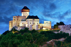 Slovakia Castle at night - Trencin royalty free stock image