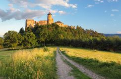 Slovakia castle, Stara Lubovna. At a sunset royalty free stock photography