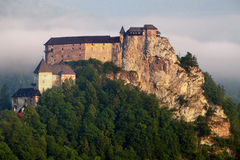 Slovakia castle at sunrise - Oravsky hrad Royalty Free Stock Images