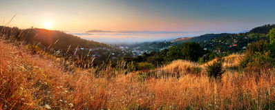 Slovakia city panorama at sunrise, Banska Stiavnica Royalty Free Stock Images
