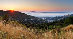 Slovakia city panorama at sunrise, Banska Stiavnica Stock Photos