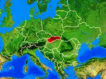 Slovakia on Earth with borders. Slovakia from space on model of planet Earth with country borders and very detailed planet surface. 3D illustration. Elements of royalty free stock photos