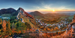 Slovakia fall rural hill landscape at sunrise, Vrsatec village Royalty Free Stock Image