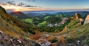 Slovakia fall rural hill landscape at sunrise, Vrsatec village. Royalty Free Stock Photography