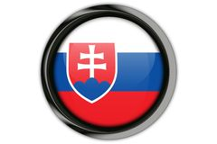 Slovakia flag in the button pin Isolated on White Background Stock Photos