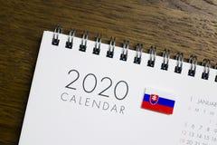 Slovakia Flag on 2020 Calendar royalty free stock photo