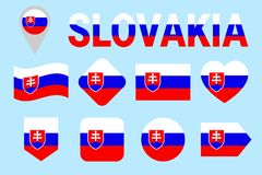 Slovakia flag collection. Slovak flags set. Vector flat isolated icons with state name. Traditional colors. Web, sports pages, nat. Ional, travel, geographic stock illustration