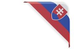 Slovakia flag corner, button. 3D rendering Royalty Free Stock Photo