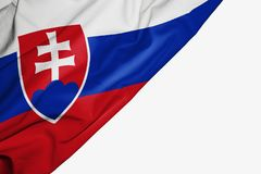 Slovakia flag of fabric with copyspace for your text on white background stock illustration
