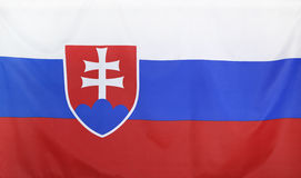Slovakia Flag real fabric Stock Photo