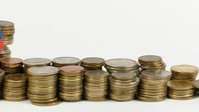 Slovakia flag with stack of money coins. Slovakia flag waving with stack of money coins stock footage