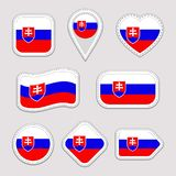 Slovakia flag vector set. Slovak flags stickers collection. Isolated geometric icons. National symbols badges. Web. Sport page, patriotic, travel, school royalty free illustration