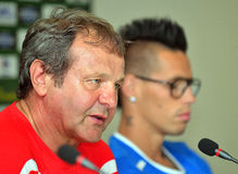 SLOVAKIA FOOTBALL PRESS CONFERENCE Royalty Free Stock Image
