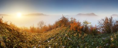 Slovakia forest autumn panorana landscape with mist in mountain, Royalty Free Stock Photos