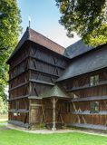 Slovakia, Hronsek. Old wooden articular church. Bardejov, Slovakia - AUGUST 06, 2015: Hronsek. Old fully wooden one of the five preserved artucular churches in Royalty Free Stock Photo