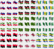 Slovakia, Kenya, Saint Vincent and Grenadines, Somaliland, Adygea, Nigeria, UPA, England, Gabon. Big set of 81 flags. Stock Photo