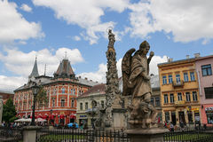 Slovakia, Kosice. Main Street. Statue of Immaculata. City landscape. Stock Photo