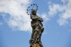 Slovakia, Kosice. Main Street. Statue of Immaculata. City landscape. Royalty Free Stock Image