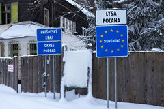 SLOVAKIA, LYSA POLANA - JANUARY 05, 2015: Slovak border post on the Lysa Polana in the High Tatras mountains. Stock Images