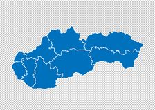 Free Slovakia Map - High Detailed Blue Map With Counties/regions/states Of Slovakia. Slovakia Map Isolated On Transparent Background Stock Photo - 154652090