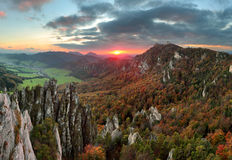 Slovakia Mountain Forest Landscape At Autumn, Sulov Royalty Free Stock Photography