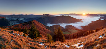Slovakia mountain peak Osnica at sunrise - autumn panorama Royalty Free Stock Photo