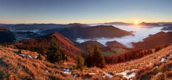 Slovakia mountain peak Osnica at sunrise - autumn panorama Royalty Free Stock Photo